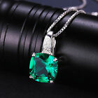 3ct Luxury Emerald Pendant Necklace Solid Sterling Silver Special Gift