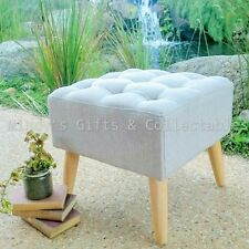 40cm Retro Vintage Style Upholstered Linen Footstool Ottomon Foot stool RRP $149