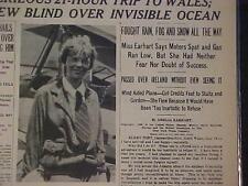 VINTAGE NEWSPAPER HEADLINE ~AMELIA EARHART AIRPLANE FIRST WOMEN TO FLY ATLANTIC~