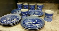 8 CURRIER & IVES WINTER SCENES PLATES WITH  6 MATCHING MUGS CUPS