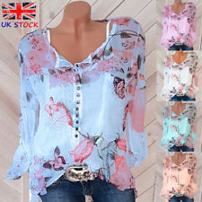 4dee53ed5d30b UK Womens Butterfly Blouse Ladies Buttons Loose Chiffon Sheer Casual Floral  Tops