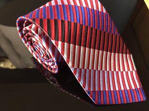 Men's Pronto Uomo Couture American Flag Woven Diagonal Rectangles 100% Silk Tie