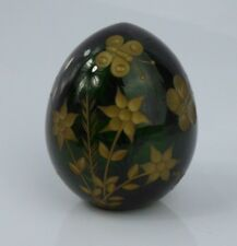 a Fine Russian Green Glass & Gilt Faberge Labeled Egg Butterfly Design