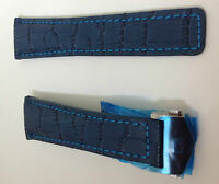 Tag Heuer 22mm Watch Leather Straps Blue/Blue Alligator Style