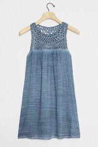 Anthropologie Pilcro Letterpress Macrame Tunic Dress Blue Sz M