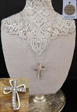 "SWAROVSKI Crystal CROSS NECKLACE Platinum/Brass - 20"" Chain of Stainless Steel"