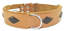 Brown Leather Dog Collar With 4 Tan Diamond Shapes to Fit 17 - 20 Inch Neck