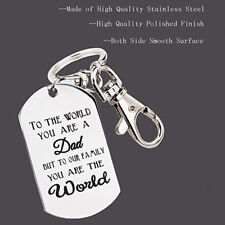 Keyring to The World You Are a Dad Engrave Tag Simple Jewelry Keychain 8c