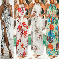 Women Summer Halter Sleeveless Print Bohemian Long Maxi Party Beach Floral Dress