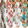 Women Summer Halter Sleeveless Print Bohemian Long Maxi Party Beach Floral Dress