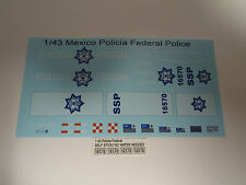 Mexico Federal Police 1:43 Water Slide Decals fits 2006 or 2011 Dodge Charger
