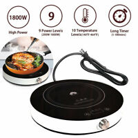 1800W Electric Induction Cooktop Portable Digital Countertop Burner Cooker 120V