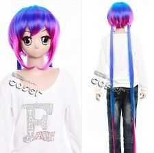 W-358 Vocaloid I-Style Cosplay Parrucca Wig Rosa Viola Rosa Blu Blue Purple 140cm
