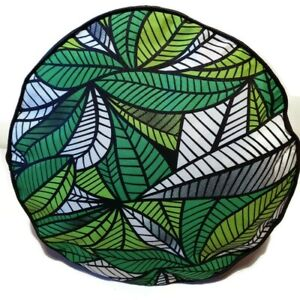 HANDMADE POUFFE  AFRICAN PRINT GREEN LEAVES FOOTSTOOL FLOOR CUSHION FOOTREST
