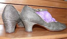 1910-20 Real Silver Brocade Strappy Evening Shoes 6 1/2