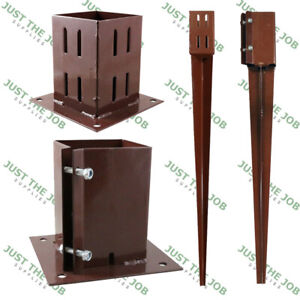 Fence Post SPIKES & SHOES, Bolt Down Holders ~ 50/75/100mm Garden Support Stakes