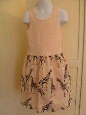 GAP Kids M 8 GIRAFFE DRESS  Ribbed Tank Skirt Fully Lined Cotton Light-Pale-Pink