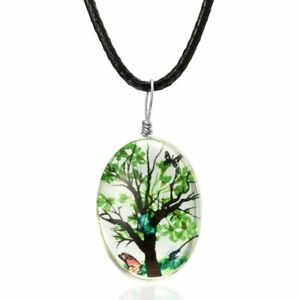 Natural Dried Tree Flower Glass Pendant Necklace Rope Chain Women Party Jewelry