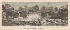 A2282 Le cascate del Tomine - Xilografia - Stampa Antica del 1895 - Engraving