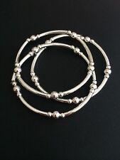 Sterling Silver Stacking Bracelets. Triple Bracelet Set. Silver Beaded Stretch