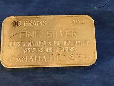 Johnson Matthey Mallory 100 Gram .999 Silver Bar Limited Canada Bar Mintage 1500
