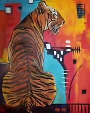 MARINA REHRMANN Original Acrylic Abstract Painting, TIGER art 28 x 22 🧿🧿🧿🧿