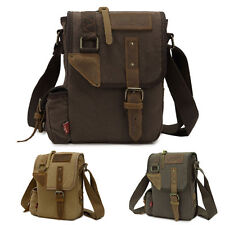 Canvas Leather Cross-Body Military Hiking Sling Bag Messenger Shoulder Bag New