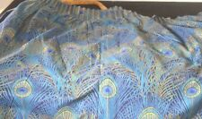 "Pair of Vintage LIBERTY of London CURTAINS Drapes ""Hera"" PEACOCK Feather Motif V"