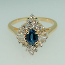 Baguette & Round Diamond & Sapphire Ring in 14Kt Yellow Gold 0.50 ctw