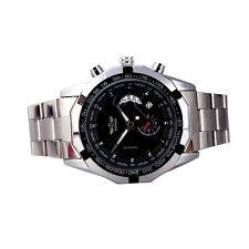 Winner Men's Auto Automatic Mechanical Wrist Watch Date Silver Steel Band Black