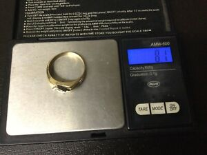 Mens 14k Solid Yellow & White Gold Genuine Diamond Ring Size 13 1/2. 8.1 Grams.