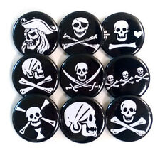 Pirate Jolly Roger Skulls Badges Buttons Pins x 9 - Size 25mm Badge Pinbacks