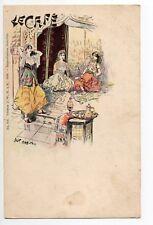 ILLUSTRATEUR Jack Abeillé LE CAFE Carte nuage 1900  signé femmes maures