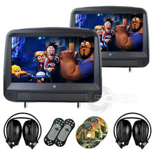 2 x Black Leather-Style Car DVD/USB/SD HD Headrests Touch-Screen Hyundai/Volvo