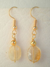 Citrine and gold plated bead drop earrings on hooks handcrafted Approx. 4cm