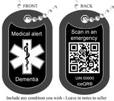 Alerta médica Láser Grabado Personalizado militar Etiqueta de perro con iceqr ® en reverso