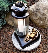 Grablaterne + Granitsockel Grablampe Grableuchte Teelicht Grablicht Kerze Engel