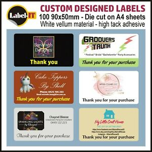 100 90x50mm THANK YOU LABELS - DIE CUT ON SHEETS - FREE DESIGN - FREE POSTAGE