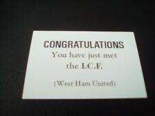 West Ham ICF tarjetas de llamadas original de la firma de ciudad 80s Carlton Leach Inter