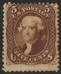 "US Sc# 76 *MINT NG H* { 5c BROWN JEFFERSON } ""SCARCE OF 1863 SERIES CV$ 625.00"