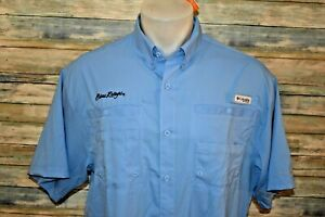 NWT COLUMBIA PFG OMNI-SHADE Large Men's S/S Vented Polyester Shirt Blue