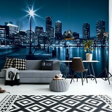 144x100inch Wall mural photo wallpaper Night city skyline view blue + adhesive