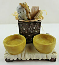 Vintage Country Kitchen Ring Dish / Candle Holder Utensils Eggs Onion Primitive