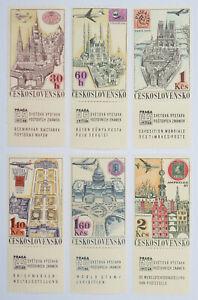 Tschechoslowakei 1968 Nr. 1738-43** Satz. Briefmarkenausstellung Prag m.Zierfeld