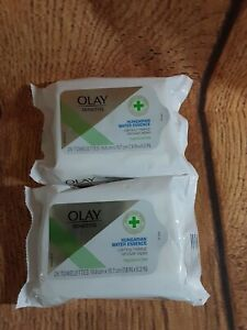 2X New Olay Sensitive Hungarian Water Essence Makeup Remover Wipes 25 Towelettes