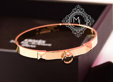 New Hermes 18K GOLD Collier De Chien Bracelet $8300 CDC Bangle Cuff SH PM Kelly