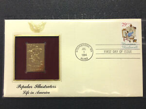 US FDC 1994 Norman Rockwell 22K Gold Stamp Replica Unaddressed with FDC Cover |
