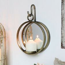 Antique Gold Round Mirror Wall Candle Sconce Vintage Shabby Chic Home Decor Gift