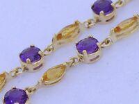 Genuine Solid 9ct Gold NATURAL Amethyst & Citrine Line Bracelet 19cm Long