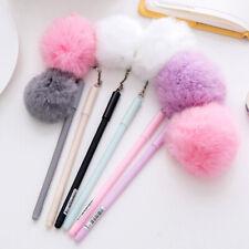 0.5mm Black Ink Cute Girl Women Faux Fur Pom Pom Ball Pendant Gel Ink Pen Call